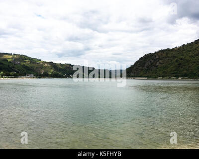 River Rhine near Bacharach, Germany - Stock Photo