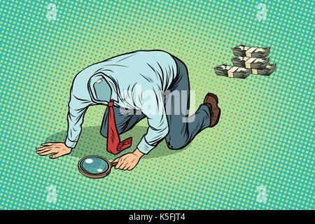 Headless man looking through a magnifying glass money - Stock Photo