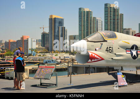 SAN DIEGO,USA - July 30 2013: The Aircraft carrier Midway as a museum of US navy at San Diego, California, USA. - Stock Photo