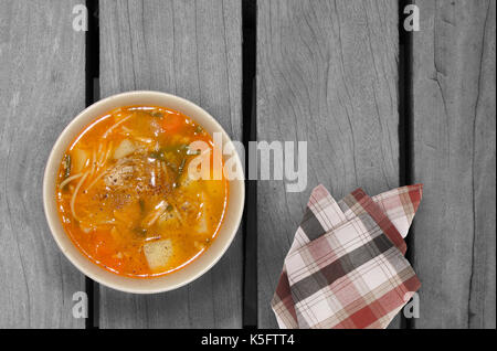 Fresh vegetable soup with noodles. top view - Stock Photo