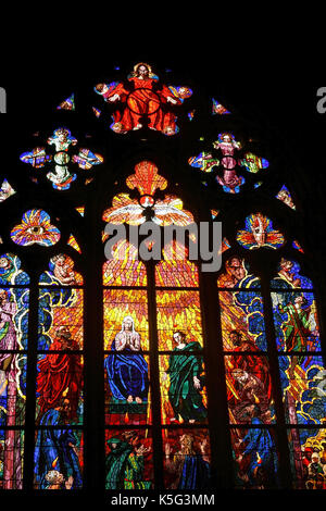 Stained Glass of the Cathedral St. Guy located in a courtyard of Prague Castle, Prague, Czech Republic - Stock Photo