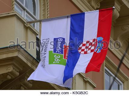 Zagreb,Croatia. Bandic Milan 365 - Labour and Solidarity Party flag and flag of Republic of Croatia at Ban Josip - Stock Photo