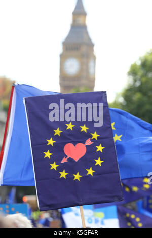 London, UK. 9th Sep, 2017. Protestors at the Anti-Brexit March for Europe, London demanding a review of the UK position - Stock Photo