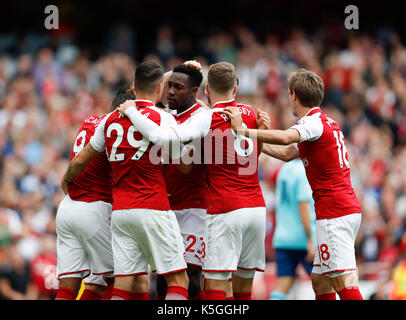 London, UK. 9th Sep, 2017. Players of Arsenal celebrate their first goal during the English Premier League match - Stock Photo