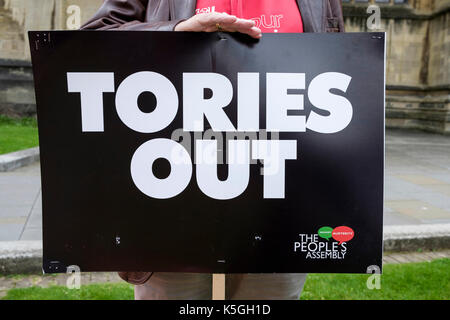 Bristol, UK, 9th September, 2017. Protesters carrying placards and calling for the government to stop the cuts that they say are damaging the lives of so many are pictured as they prepare to march through the city centre in an anti-austerity protest march and rally.  The protest was called for by Bristol Mayor Marvin Rees and was backed by the Bristol Labour Party, Green party and over 30 organisations, including trade unions and community groups to demanded that the Conservative government gives Bristol and other cities in the UK the funding needed for public services.