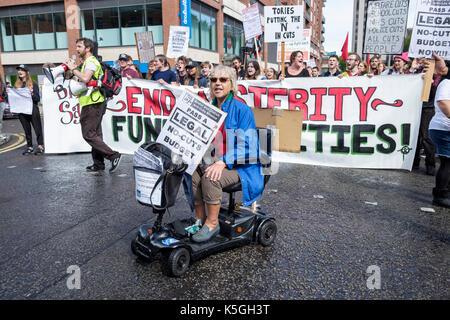 Bristol, UK, 9th September, 2017. Protesters carrying placards and calling for the government to stop the cuts that - Stock Photo