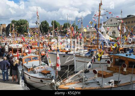London, UK 9th September 2017. In association with Totally Thames Festival, the Classic Boats Festival takes place - Stock Photo