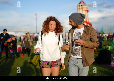 London, UK. 9th September, 2017. Festival goers at the 2017 OnBlackheath Festival. Photo date: Saturday, September - Stock Photo