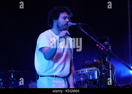 London, UK. 9th September, 2017. Joseph Mount of Metronomy performing live on the Main Stage at the 2017 OnBlackheath - Stock Photo