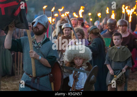 Torchlight parade in Largs, Scotland, UK.  9th September, 2017. The Battle of Largs (2 October 1263) Re-enactment, - Stock Photo