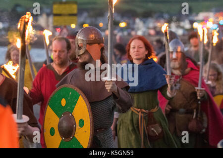 Largs, Scotland, UK.  9th September, 2017. The Battle of Largs (2 October 1263) Re-enactment, pagan festival event - Stock Photo