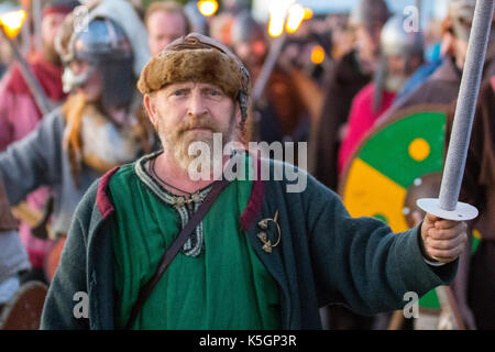 Torchlight pagan festival parade in Largs, Scotland, UK.  9th September, 2017. Fred Ralston Viking Warrior at the - Stock Photo