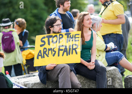 London, UK. 9th Sept, 2017. Groups and individuals including Quakers, Green party, Campaign against the Arms Trade - Stock Photo