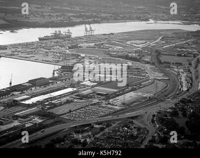 Aerial view of the New Docks and container docks of the Port Of Southampton including SS Canberra in the King George - Stock Photo