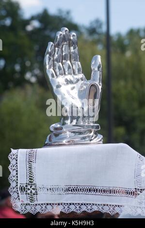 Relic of St Gilles housed in a silver hand - Stock Photo