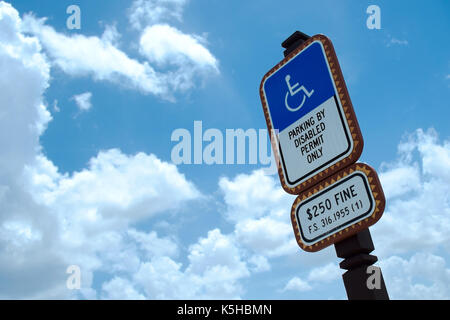 United States Disabled Parking Sign - Stock Photo