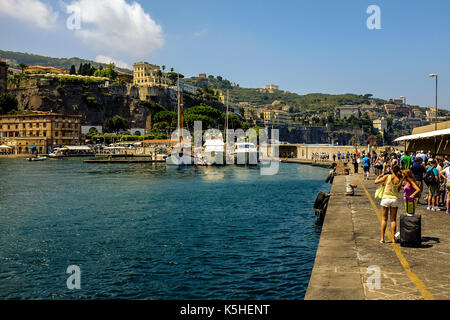 General views of the waterfront and mountains and buildings of Sorrento, Italy on September 25, 2017. - Stock Photo