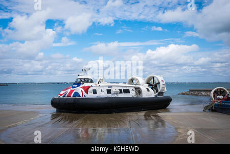 Island Flyer, one of the Ryde to Southsea Hovercraft leaving the Ryde terminal. - Stock Photo