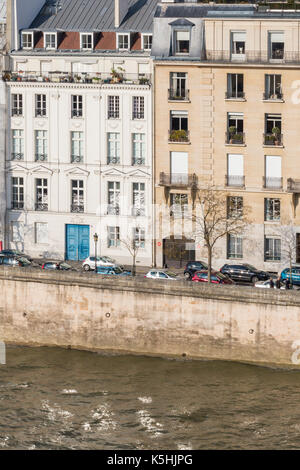 View of apartment buildings on Île Saint-Louis from the roof of the Arab World Institute by the Pont de Sully in - Stock Photo