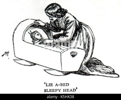 Singing a lullaby to a baby in its cradle - An 1893  illustration from the book Sing-Song Nursery Rhyme Book by - Stock Photo