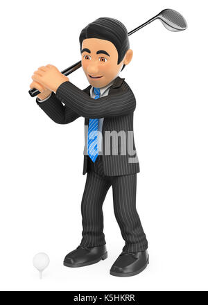 3d business people illustration. Businessman playing golf. Isolated white background. - Stock Photo