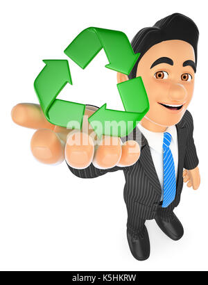 3d business people illustration. Businessman with recycling symbol. Isolated white background. - Stock Photo