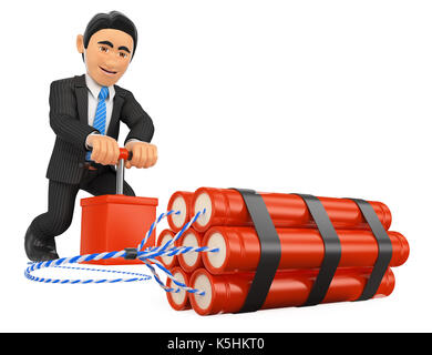 3d business people illustration. 3D Businessman detonating a dynamite bomb. TNT. Isolated white background. - Stock Photo