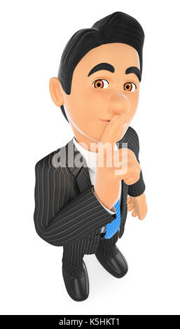 3d business people illustration. Businessman ordering to shut up with his finger. Isolated white background. - Stock Photo