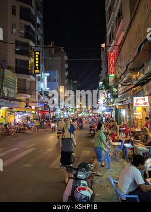 ho chi minh city at night, vietnam - Stock Photo