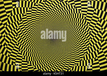 Optical illusion with circles that create the effect of rotation, as a background - Stock Photo