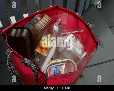 Recycling plastic containers for household collection. - Stock Photo