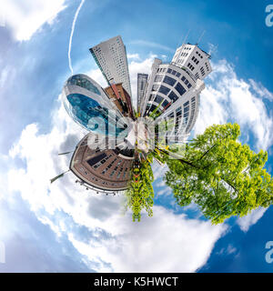 Little planet 360 degree sphere. Panorama of Eindhoven city, Netherlands - Stock Photo