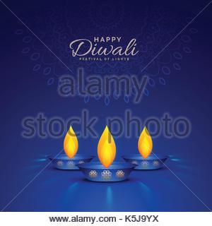 illustration of burning diya on blue background for happy diwali celebration - Stock Photo
