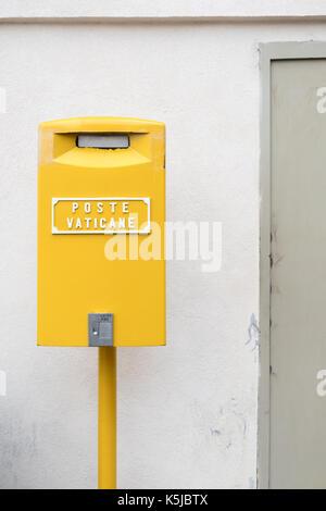 Yellow Post Box in Vatican City - Stock Photo