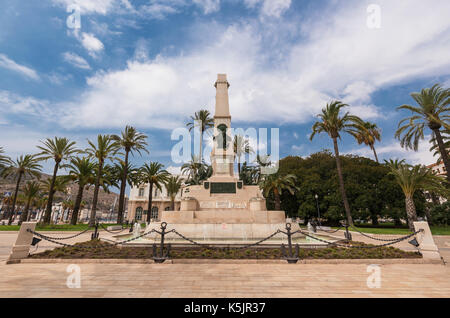 Cartagena cityscape, Old fountain in the historical city downtown of Cartagena, Murcia, Spain. - Stock Photo