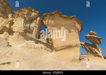 Desertic landscape of Erosion rocks, natural formations in Bolnuevo, Murcia, Spain. - Stock Photo