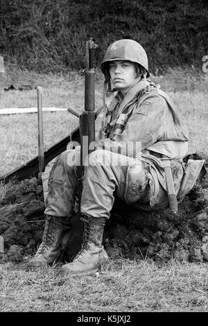 young soldier going to war from the WWII US Army 82Nd Airborne Division Paratrooper - Stock Photo