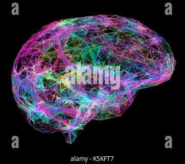 Neural network. Computer artwork of the brain's neural network represented by lines and dots. A neural network is - Stock Photo