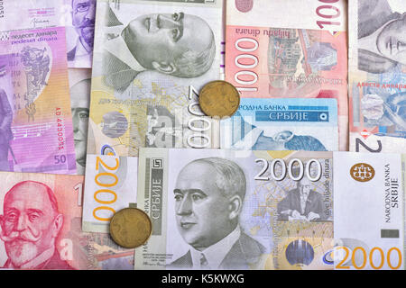 Background of Serbian banknotes and coins - Stock Photo