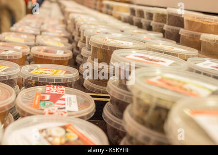 Various oriental spices, herbs on market - Stock Photo