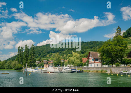 The beautiful Stein am Rhein is a historic town and a municipality in the canton of Schaffhausen in Switzerland - Stock Photo