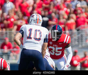 Oxford, USA.  9th Sept 2017. University of Mississippi Linebacker Donta Evans (35) eyes University of Tennesse-Martin - Stock Photo
