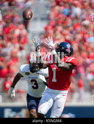 Oxford, USA.  9th Sept 2017. University of Mississippi Wide Receiver A.J. Brown (1) waits to catch the pass from - Stock Photo