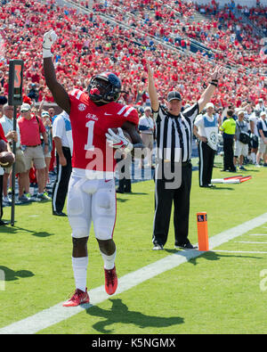 Oxford, USA.  9th Sept 2017. University of Mississippi Wide Receiver A.J. Brown (1)  celebrates scoring a touchdown - Stock Photo