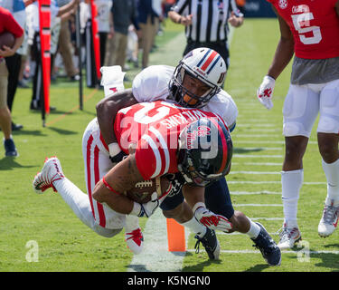 Oxford, USA.  9th Sept 2017. University of Mississippi Running Back Jordan Wilkins (22) is riden into the endzone - Stock Photo