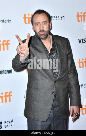 Toronto, Ontario, Canada. 9th Sep, 2017. NICOLAS CAGE attends 'Mom and Dad' premiere during the 2017 Toronto International - Stock Photo