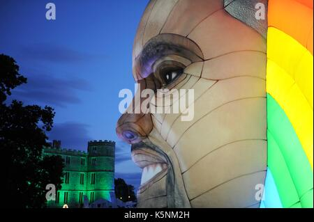 Inflatable Kanye West at Bestival Music Festival. Inflatable Kanye West Credit: Finnbarr Webster/Alamy Live News - Stock Photo