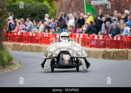 Cookham Dean, UK. 10th September, 2017. A custom-built go-kart named The Hare And The Tortoise competes in the Cookham - Stock Photo