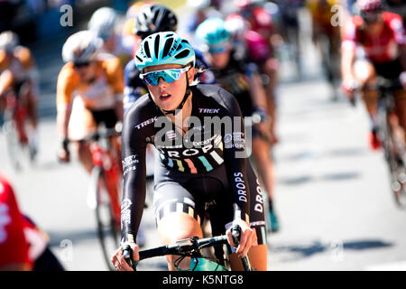 Madrid, Spain. 10th Sep, 2017. A cyclist of Drops rides during the women cycling race 'Madrid Challenge' on September - Stock Photo