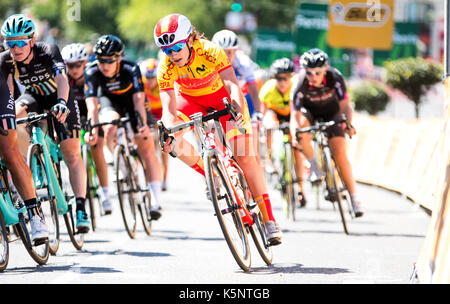 Madrid, Spain. 10th Sep, 2017. A cyclist of Spanish Team rides during the women cycling race 'Madrid Challenge' - Stock Photo